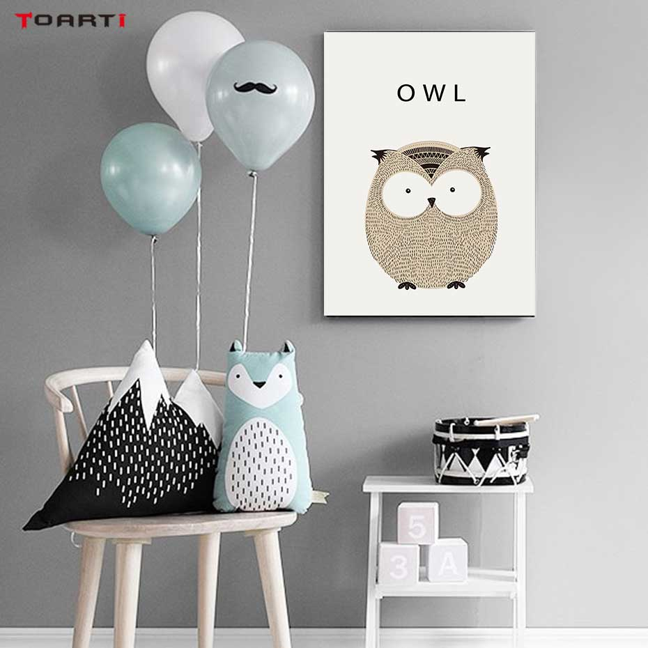 Image 4 - Kawaii Cartoon Animals Posters Prints Owl Fox Deer Canvas Painting For Kids Nursery Bedroom Modern Wall Art Pictures Home Decor-in Painting & Calligraphy from Home & Garden