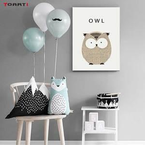Image 4 - Kawaii Cartoon Animals Posters Prints Owl Fox Deer Canvas Painting For Kids Nursery Bedroom Modern Wall Art Pictures Home Decor