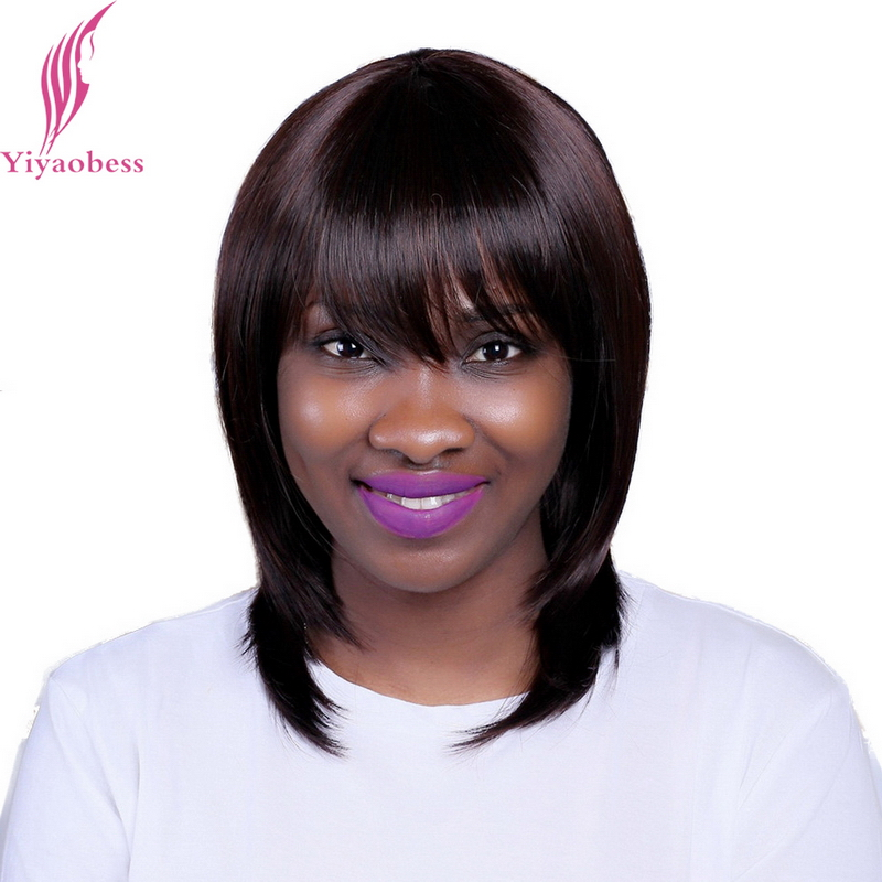 Yiyaobess 35cm Ladies Dark Brown Short Bob Wig With Bangs Heat Resistant Synthetic Straight Natural Cancer Wigs