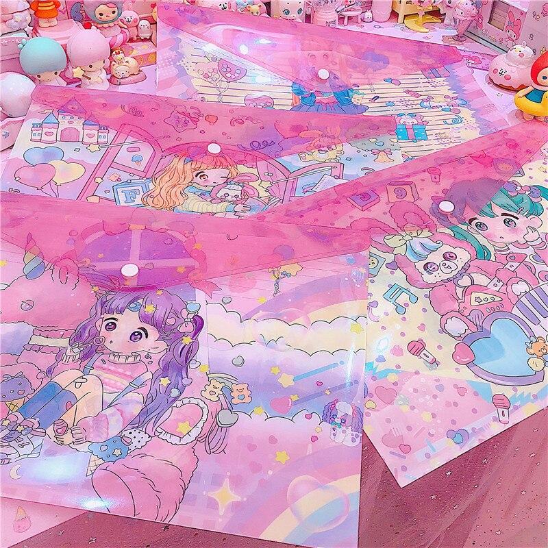 Japan Cartoon Girls A4 Clear Document Bag Paper File Folder Stationery School Office Case