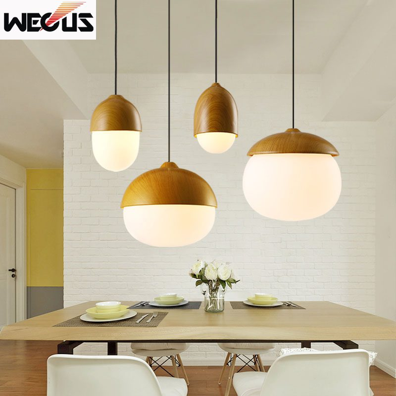 (Wecus) Nordic style nuts pendant lamp modern creative imitation wood pendant lamp dining room restaurant cafe chandelier chinese modern creative lamp lift shrink mahjong chess room chandelier wood chandelier restaurant lamp