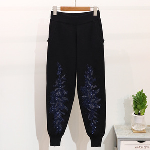 Image 5 - 2020 Autumn Women Embroidered Sequins Flower Long Sleeve Sweaters Casual Pants Two Piece Student Knitted Tracksuit Ladies D1289