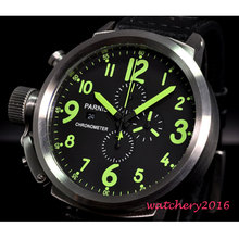 50mm Parnis Big Face black dial Complete Calendar Hot Mechanical Crystal full chronograph Quartz Movement Mens Wristwatches