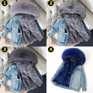 Image 5 - OFTBUY 2020 Winter Jacket Women Real Fur Coat Parka Real raccoon collar Rex Rabbit liner bomber Denim jacket Streetwear fashion