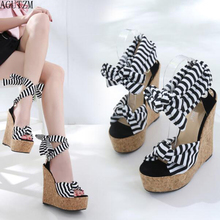 AGUTZM New Designer Cotton Fabric Summer Roman Sandals High Quality Wedges Heels Sexy Peep-Toe Platform Shoes Woman Z15