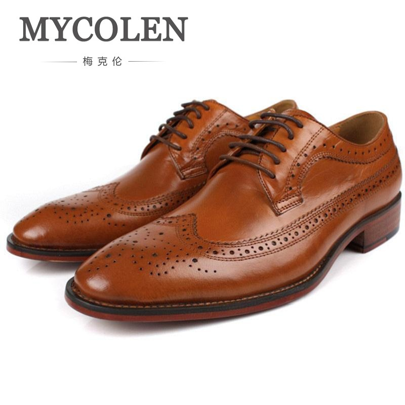 MYCOLEN 2018 New Arrives Handmade Oxfords Formal Shoes Men Luxury Genuine Leather Brogue Wedding Shoes Business Casual Shoes men luxury crocodile style genuine leather shoes casual business office wedding dress point toe handmade brogue footwear oxfords page 4 page 5 page 4 page 4