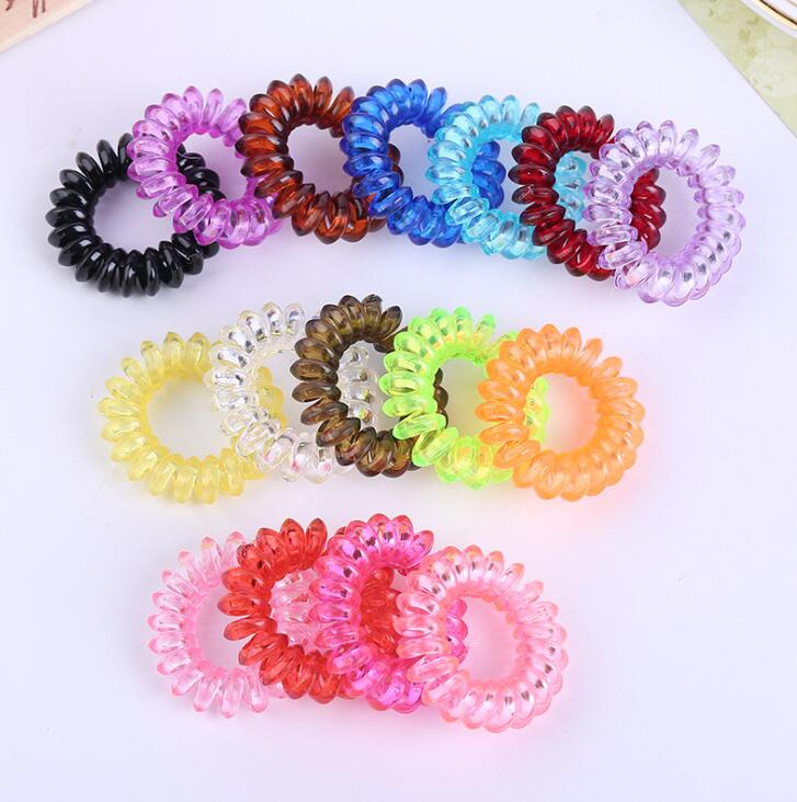 3.5 Cm Mix Color Telephone Wire Line Cord Bobble Tie Gum Elastic Hair Bands Holders Tie Gum Girl Rope Hair Scrunchy Accessories