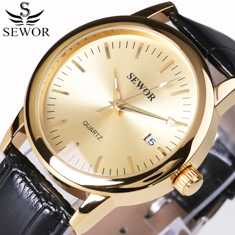 SEWOR Luxury Brand Fashion Casual Men Watches Automatic Mechanical Watch Business Date Clock Leather Strap montre homme 2016 New fosining luxury montre homme watch men s auto mechanical moonpahse genuine leather strap watches wristwatch free ship
