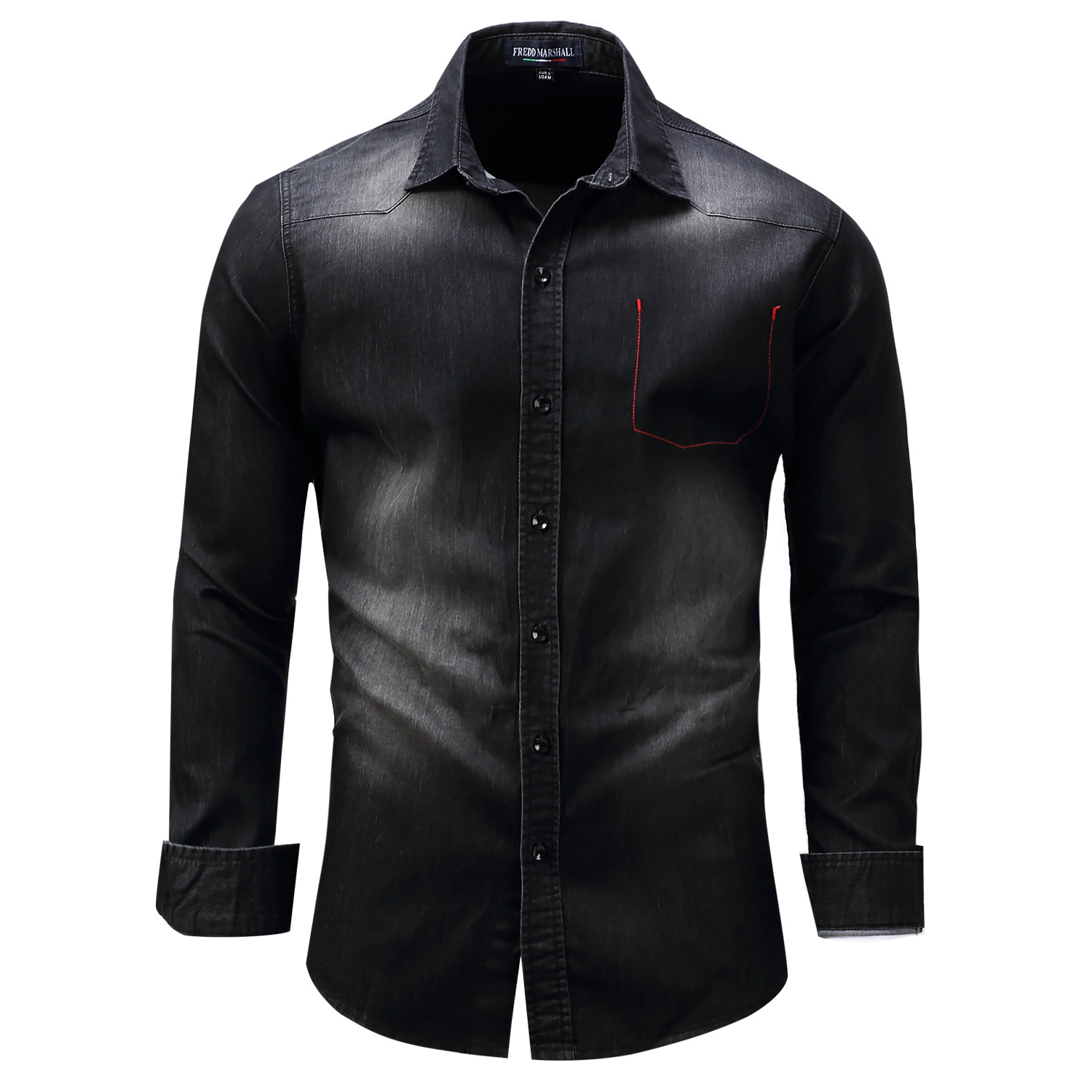2018 new large size mens long sleeve lapel shirt black cotton denim shirt mens youth military style Cardiganshirts Combination ...
