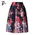 Daylook elegante de la mariposa Floral Print Skater falda mujer falda plisada vestido de bola Midi elástico de cintura alta Vintage negro Saias