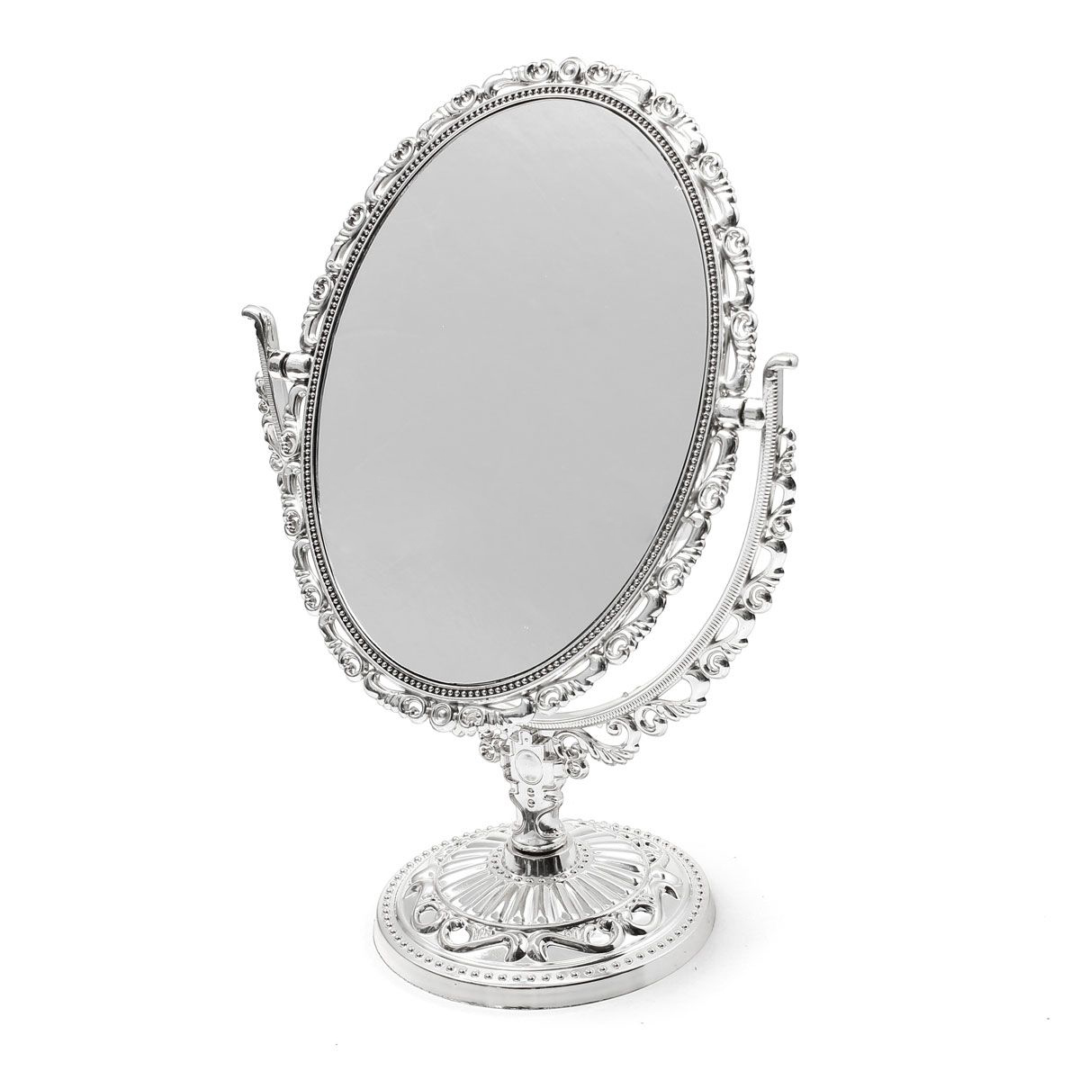 SILVER VANITY MAKE UP COSMETIC TABLE BATHROOM MIRROR ON FOOT STAND