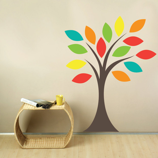 colorful leaves tree fabric wall decal removable vinyl wall stickers