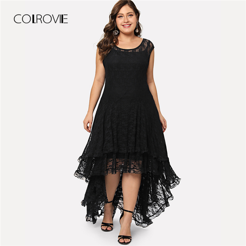 COLROVIE Plus Size Sem Encosto Preto Dip Hem Layered Lace Floral Vestido Plissado Vestido de Verão 2018 Elástico Assimétrico Mulheres Vestido