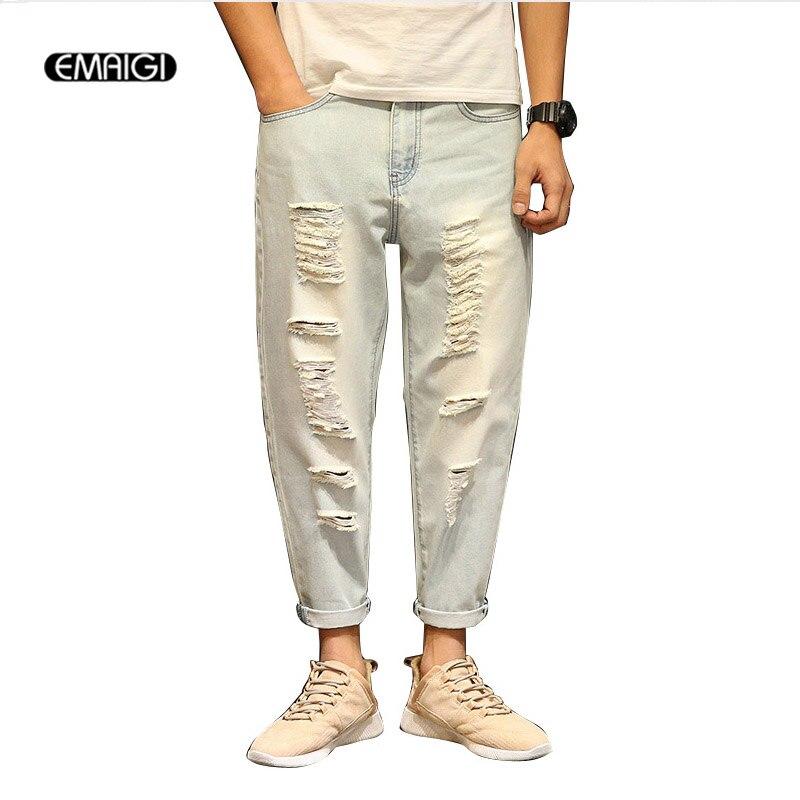 Size 28-42 Street Fashion Retro Male Jeans Hole Hiphop Men Loose Denim Harem Trousers Plus Size Jean Pant large size 29 42 young men jeans hole patchwork denim harem pant male fashion casual denim pant trousers