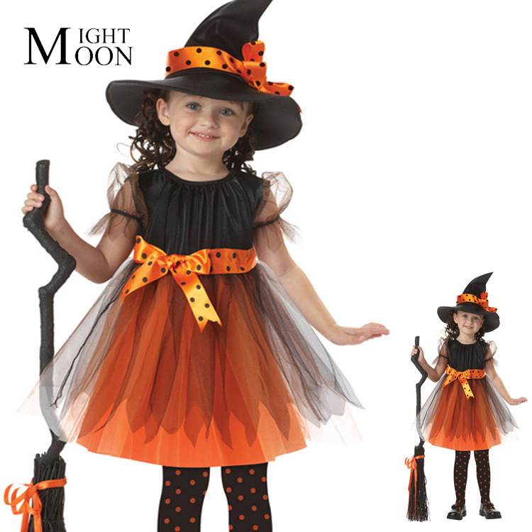 MOONIGHT Hot Sale High Quality Kids Halloween Cat Witch Girl Fancy Dress Child Party Dress Up Cosplay Costume Cartoo Dresses
