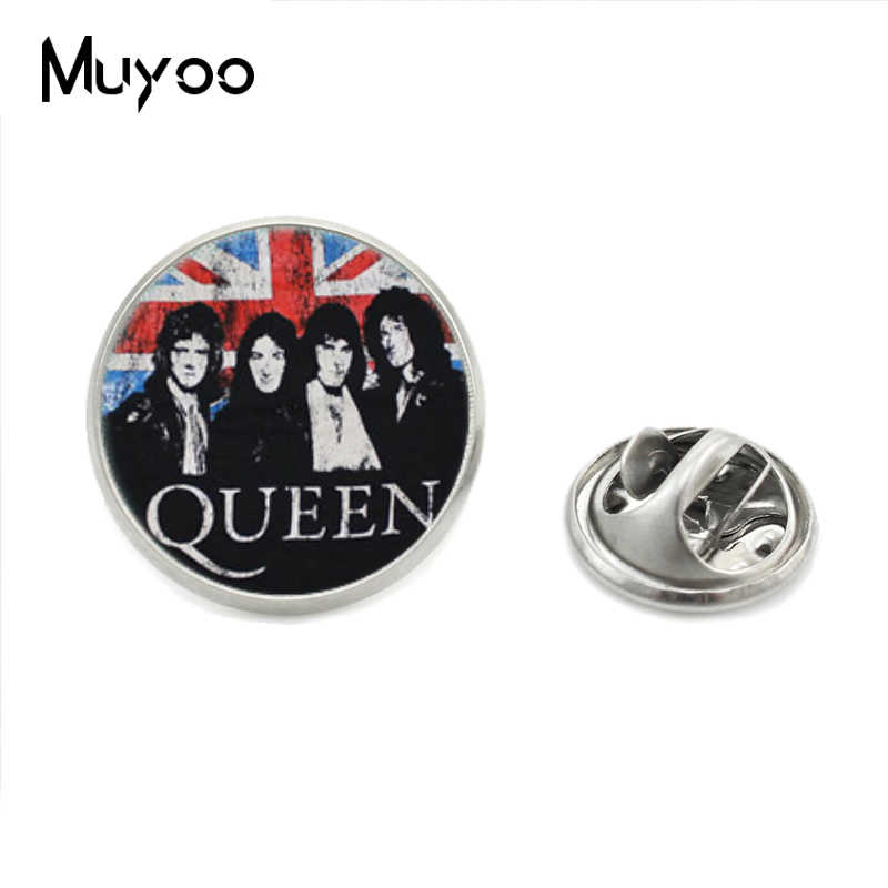 Hot Fashion Pop and Rock Queen Band Stainless Steel Plated Collar Pins Hand Craft Queen Logo Lapel Pins Jewelry Gifts for Fans