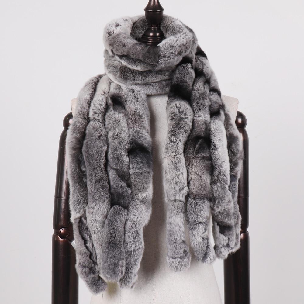 Image 2 - 2019 Women Winter 100% Genuine Real Rex Rabbit Fur Scarf Natural Soft Rex Rabbit Scarves Lady Warm Real Rex Rabbit Fur Muffler-in Women's Scarves from Apparel Accessories