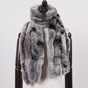 Image 2 - 2020 женский зимний 100% натуральный настоящий мех кролика шарф натуральный мягкий мех кролика Рекс шарфы Леди Теплый Настоящий мех кролика глушитель