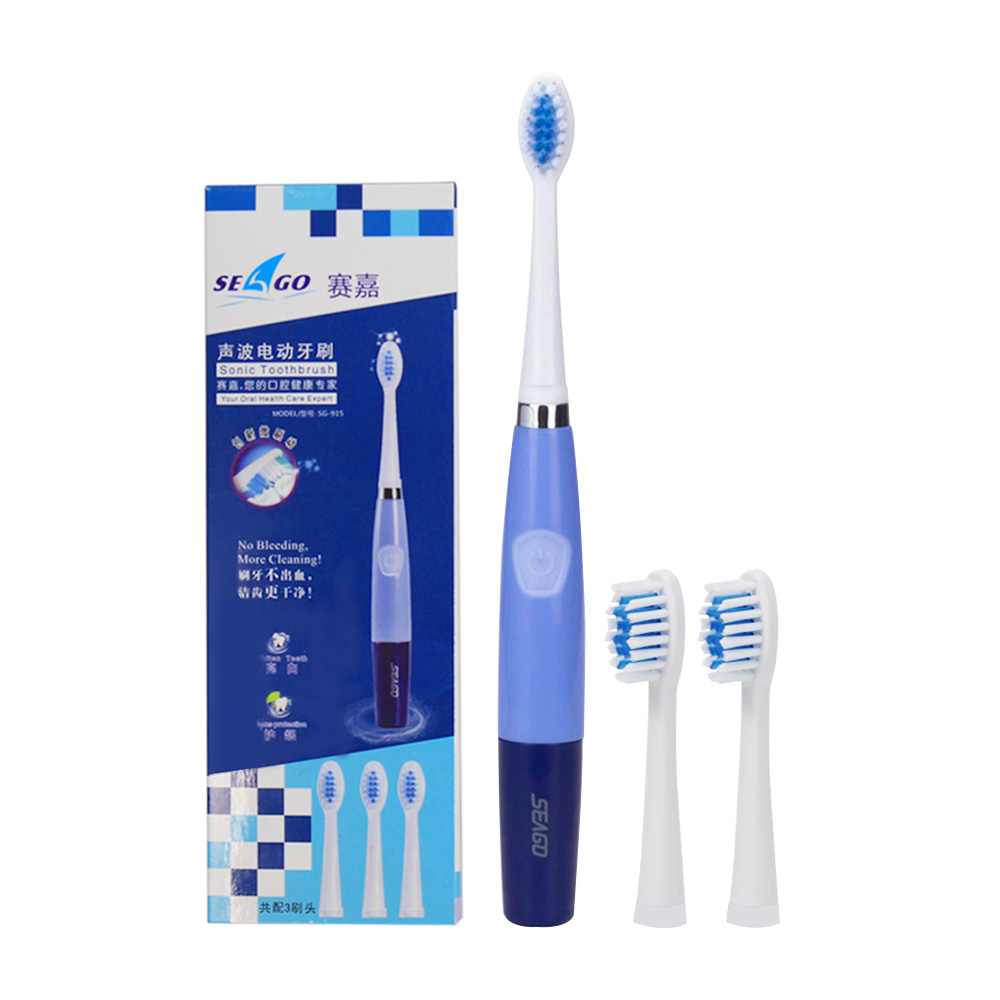 Seago Sonic Battery Electric Toothbrush With 2 Replacement Toothbrush Heads Brush Teeth Tooth Brush For Adults Teeth Whitening 4pcs electric sonic replacement tooth brush heads for philips sonicare toothbrush heads dual soft bristles sensiflex hx2014