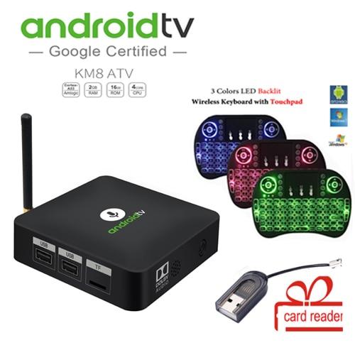 MECOOL KM8 ATV Air Mouse+card reader gift Android 8.0 tv box BT IR Voice smart TV Box Amlogic S905X 2GB+16GB media player mecool km8 atv 4k media player google home google voice control smart tv android 8 0 amlogic s905x 2gb ddr3 16gb ott tv box