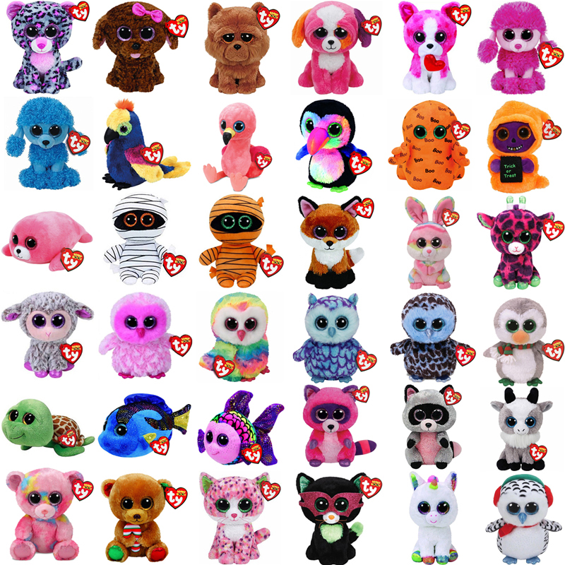 "Ty Beanie Boos 6"" 15cm Unicorn Owl Goldfish Bear Penguin Turtle Monkey Dog Flamingo Plush Big-eyed Stuffed Animal Doll Toy(China)"