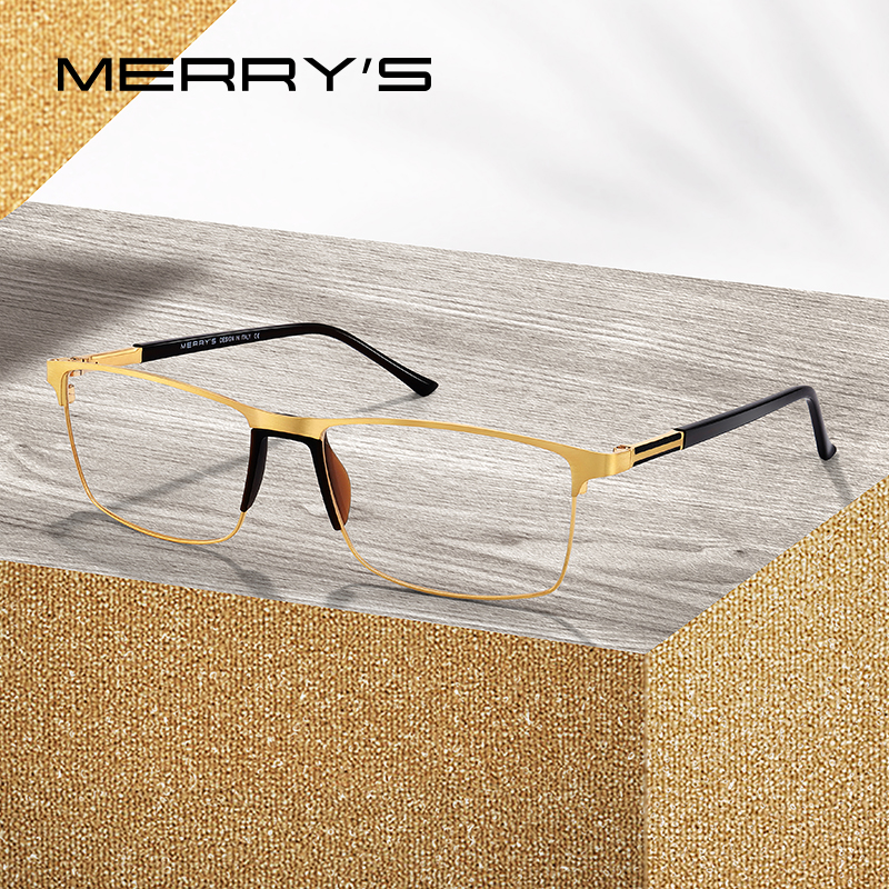 MERRY'S Men Square Ultralight Titanium Alloy Optical Glasses Frame Male Eye Myopia Prescription Eyeglasses TR90 Nose Pads S2036