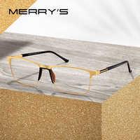 MERRYS DESIGN Men Titanium Alloy Glasses Frame Male Square Ultralight Eye Myopia Prescription Eyeglasses TR90 Nose Pads S2036