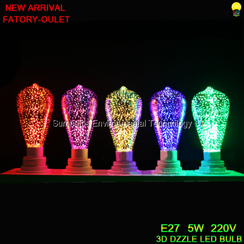 New Arrival 3D Dazzle ST64 LED Night Light 220V 5W E27 Colorful Edison LED Bulb Decorative Lamp Red Green Blue Yellow Purple 220v home lighting colorful led bulb ampoule e27 3w energy saving light red orange yellow green blue milk pink lamp smd2835