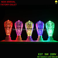 New Arrival 3D Dazzle ST64 LED Light 220V 5W E27 Colorful Edison LED Ball Bulb Flame