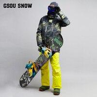 2018 Gsou снег Для мужчин лыжный костюм ветрозащитная Водонепроницаемый уличная спортивная одежда Лыжный спорт Сноуборд супер теплая одежда м