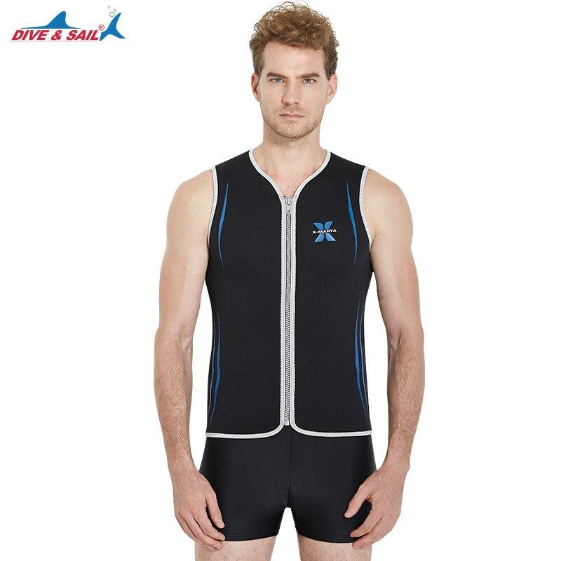 Mens Wetsuits Vest Sleeveless Top 3mm Neoprene Front Zipper / 1.5mm Pants Full Legs for Scuba Diving Surfing