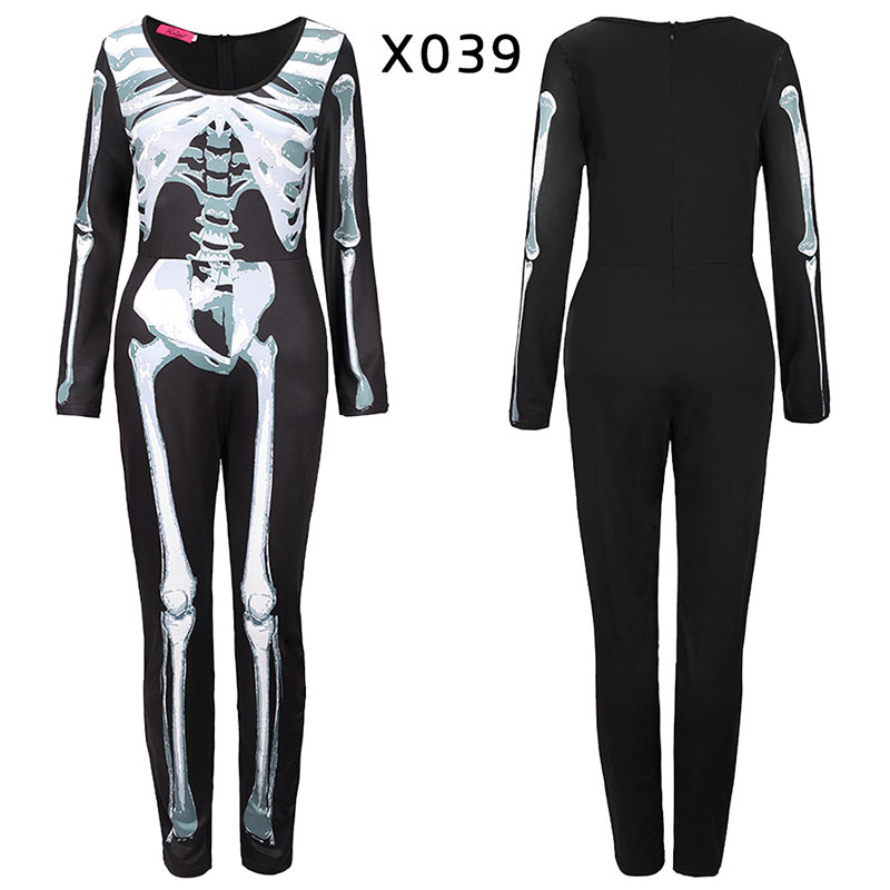 Women Halloween Jumpsuits Costumes Ghost Festival Horror Skeleton Conjoined Gowns Party Sexy Performance Rompers Cosplay Clothes (42)