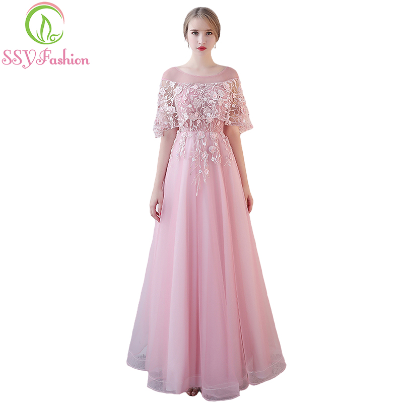 SSYFashion New Sweet Pink Lace Evening Dress The Bride Banquet Elegant  Floor length Tulle with Flower Cape Long Prom Party Gown-in Evening Dresses  from ... 3d132adbc650