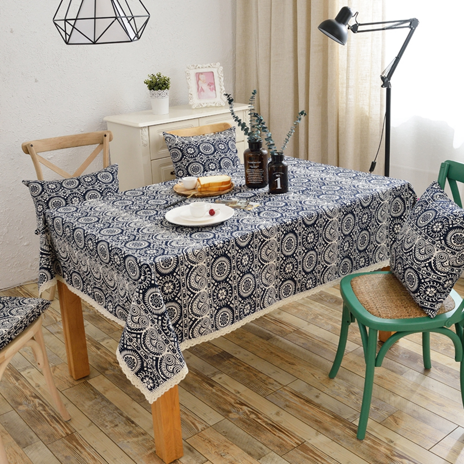 100 Cotton Table Cloth Mysterious Geometric Patterns Lace Tablecloth Decorative Elegant Cover For Dining Room