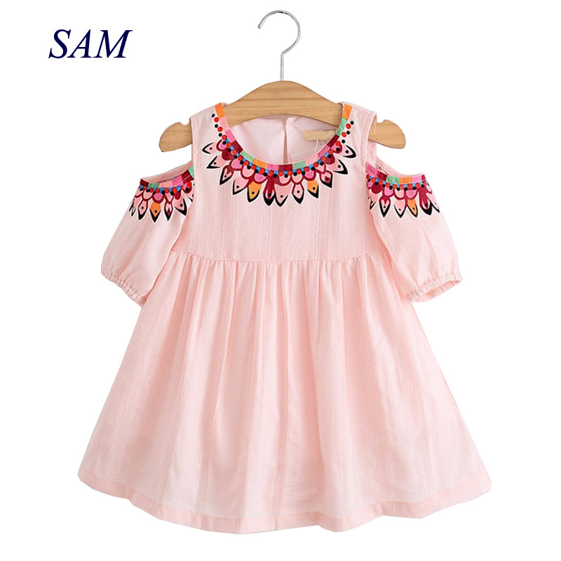 Cotton Girl Dress 2018 Summer New Girl Clothes Casual Sundress Short Sleeve Strapless Dress Princess Dress встраиваемый светильник novotech farfor 369865