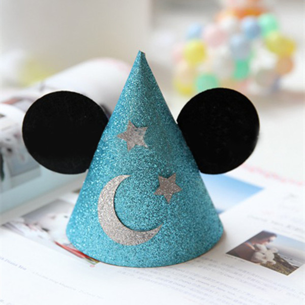 Free Shipping 20pcs Glitter Blue Paper Caps Boys birthday Party Decoration Christmas Wedding Baby Shower Glitter Paper Hat