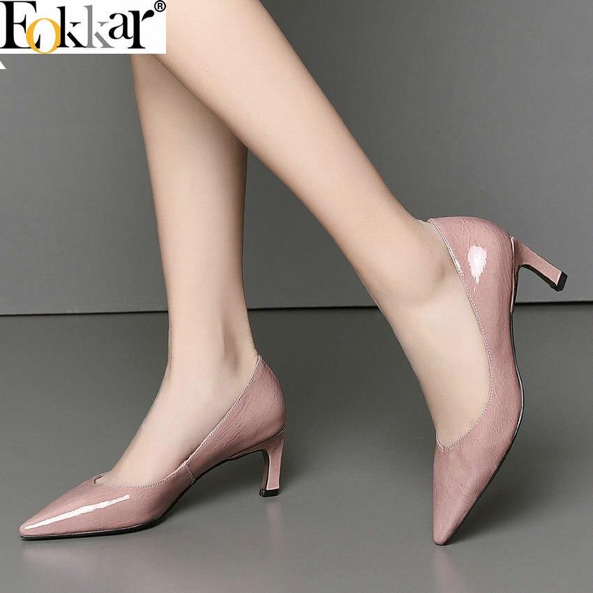 Eokkar 2019 New Women Pumps Thin High Heel Pumps Office Lady Fashion Pointed Toe Genuine Leather