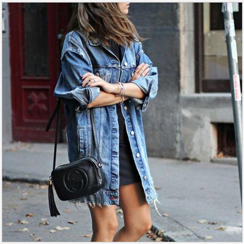 Novas Jaquetas Jeans Mulheres Buraco Jaqueta Jeans Estilo Boyfriend Jeans Solto Primavera Outono Denim Jeans Casacos Casacos Feminino G225