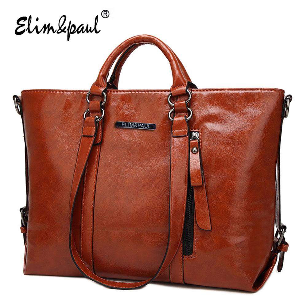 ELIM PAUL Women Leather font b Handbags b font Top Handle bags ladies tote retro shoulder