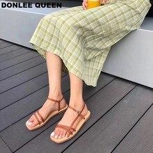 2019 New Summer Sandals Shoes Women Buckle Strap Narrow Band Casual Simple Flat Sandal Gladiator sandalias mujer Vacation Shoes недорго, оригинальная цена