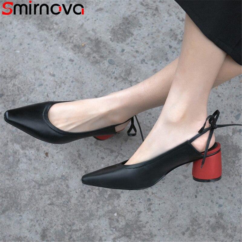 Smirnova 2019 ร้อนขายใหม่ปั๊มรองเท้าผู้หญิงสแควร์ toe lace up รองเท้าส้นสูงหนารองเท้าผสมสีของแท้หนังรองเท้าผู้หญิง-ใน รองเท้าส้นสูงสตรี จาก รองเท้า บน   1