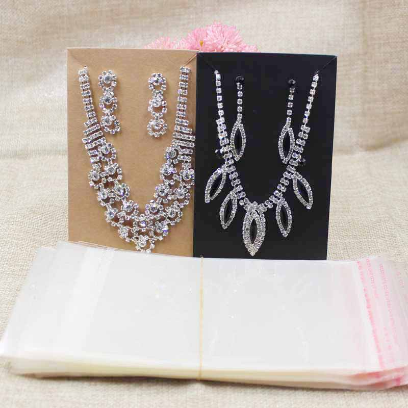 2017 Big Kraft/black Paper Jewelry Set Package Card Exaggerate Costume Beaded Necklace Card 100pcs+100opp Bag