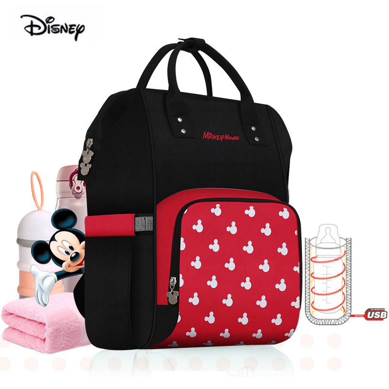 Disney Minnie Diaper Bag USB Bottle Insulation Big Capacity Oxford Feeding Baby Mommy Maternity Backpack Mother Bag For Travel