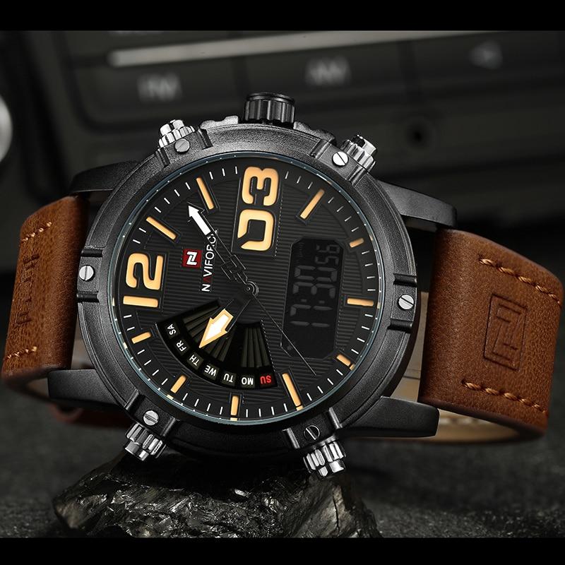 2019 NAVIFORCE Men's Fashion Sport Watches Men Quartz Analog Date Clock Man Leather Military Waterproof Watch Relogio Masculino