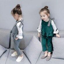 JENYA free shipping fashion spring&autumn girls solid clothes baby sleeveless vest T-shirt+micro-rare slim pants 2pcs sets 1694