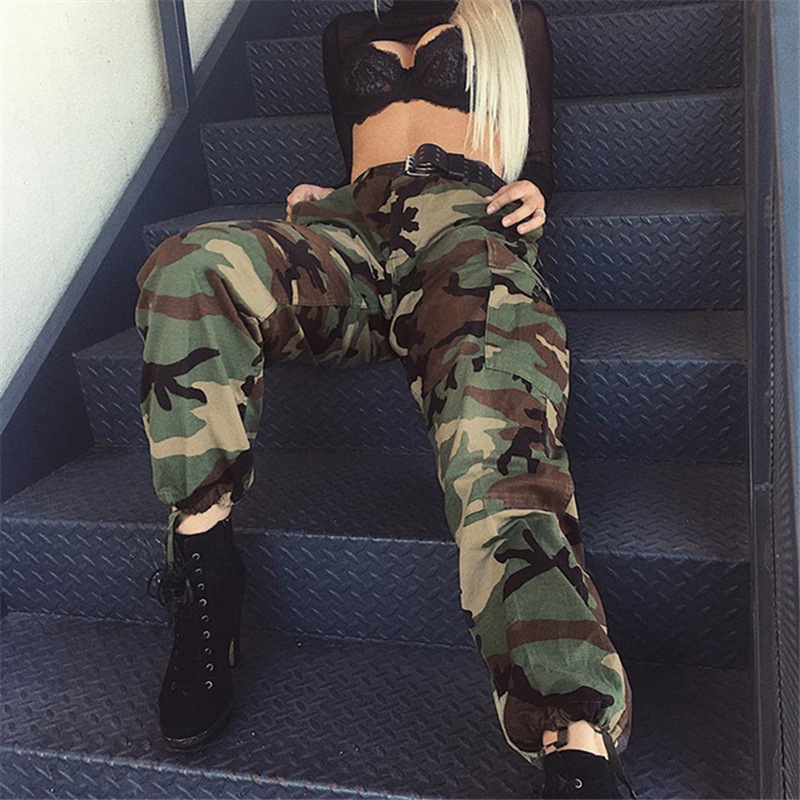 Fashion Camouflage Printed Joggers Sweatpants Pants Hip Hop Dance Pants Women Army Green Loose Baggy Trousers in Pants amp Capris from Women 39 s Clothing