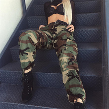 Fashion Camouflage Printed Joggers Sweatpants Pants Hip Hop Dance Pants Women Army Green Loose Baggy Trousers