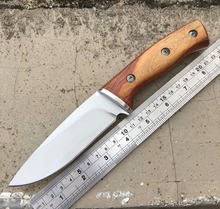 Quality Fixed 440 Blade Camping Knife Natural Solid Wood Handle Hunting Tactical Knives Multi Outdoor Survival Knife EDC Tools
