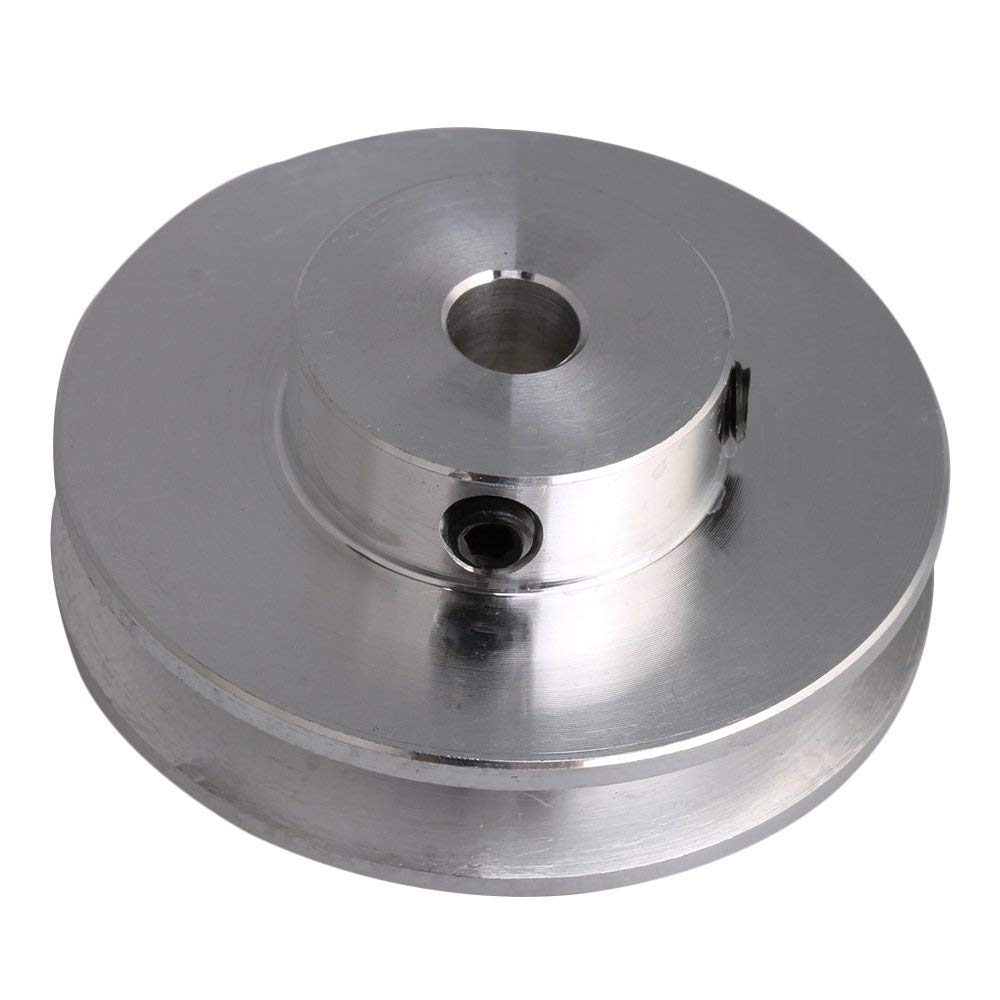 Silver Aluminum Alloy 41x16MM Single Groove 6-12MM Fixed Bore Pulley For Motor Shaft 3-5MM PU Round Belt