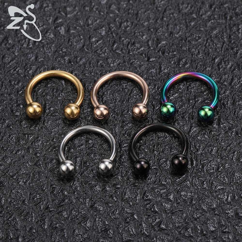 ZS 5 pçs/lote Pico Nariz Piercings Helix Ear Piercing Piercing No Nariz De Aço Inoxidável Para As Mulheres Homens Septo Anéis Body Piercing Jóias